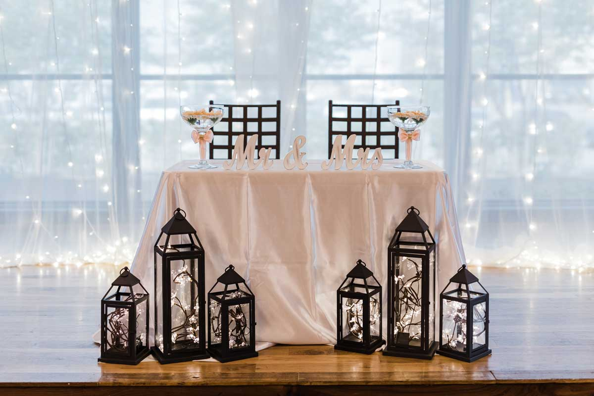 personalized service to create the bride and groom's table for after ceremony festivities