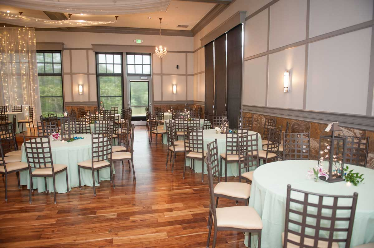 photo of a ballroom setup in mint green at The Ark in Katy
