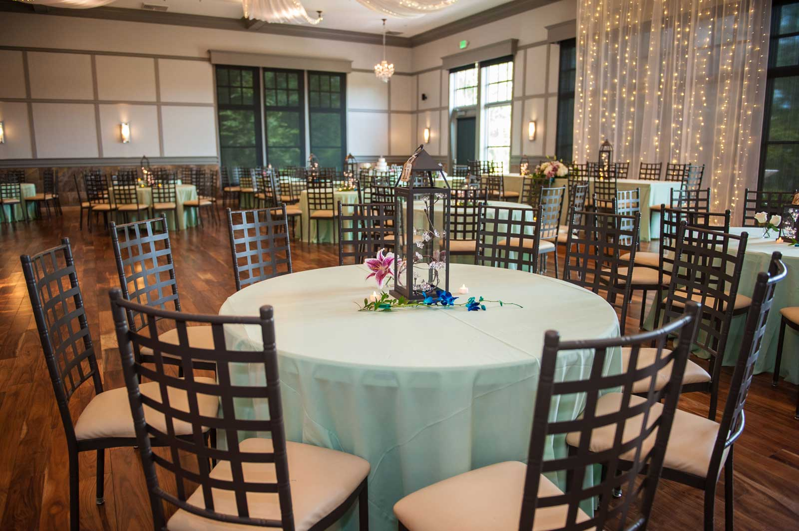 photo of ballroom setup for wedding at The Ark in Katy