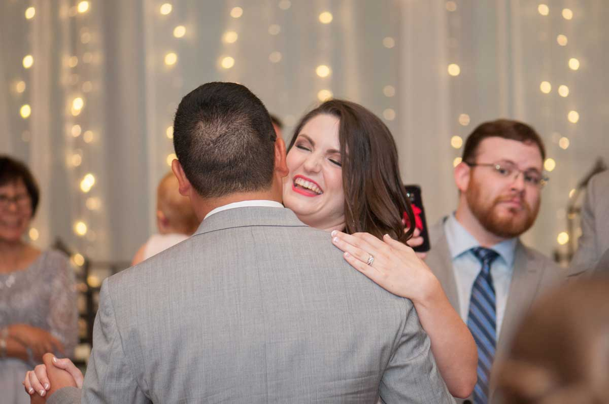 close up photo of bride and groom dancing at The Ark in Katy