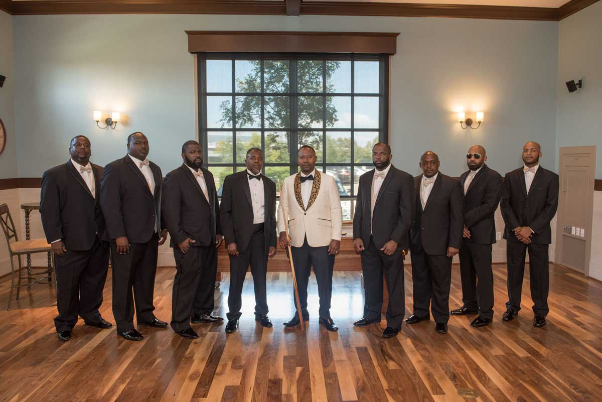 photo of the groom and groomsmen at The Ark in Katy