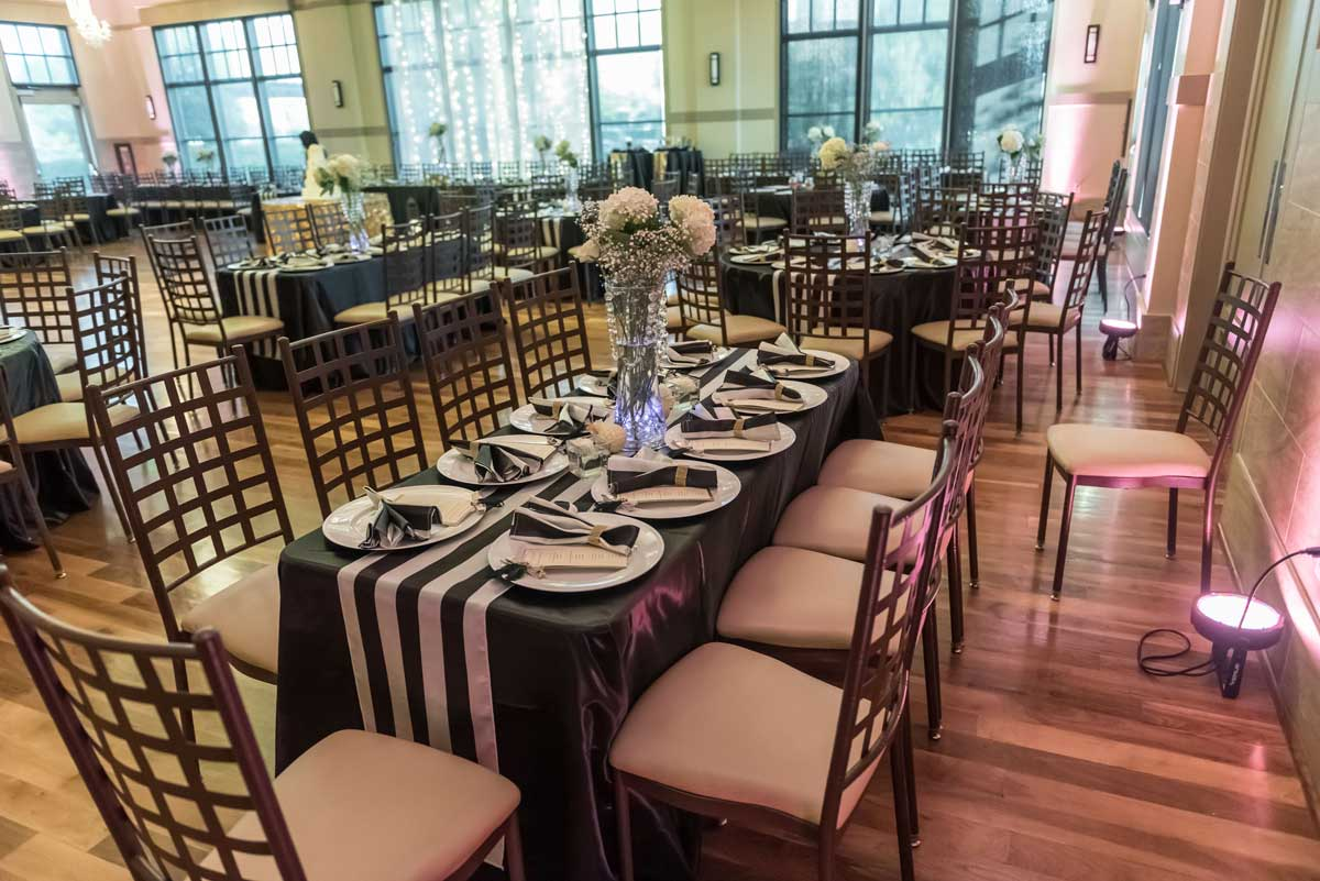 black and white ballroom decor for a wedding at The Ark in Katy