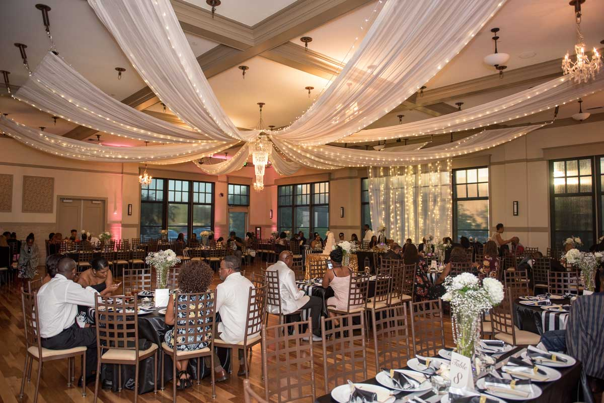 wedding guests enjoying the ballroom at The Ark in Katy