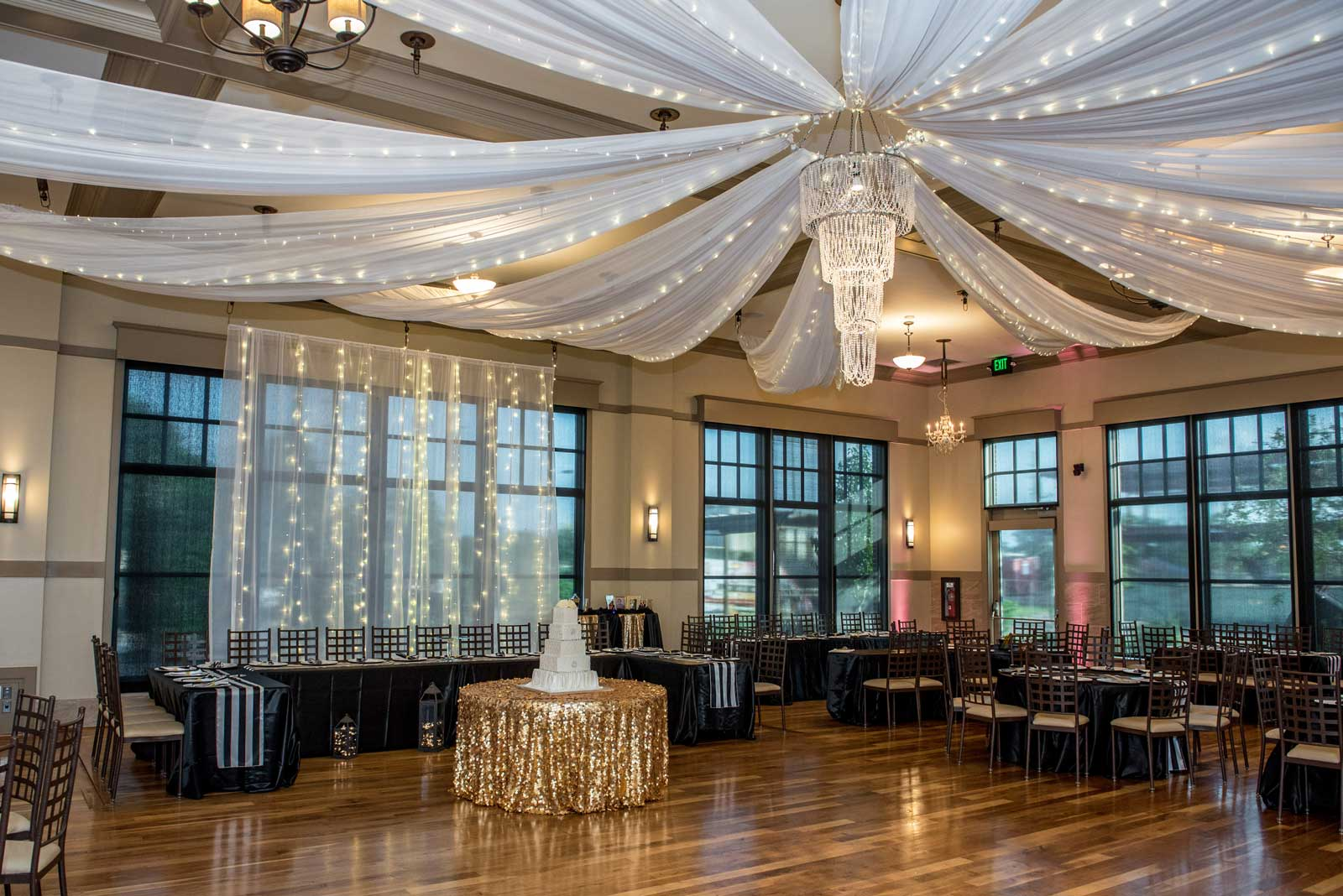 Elegant ballroom set up in black and white at The Ark in Katy