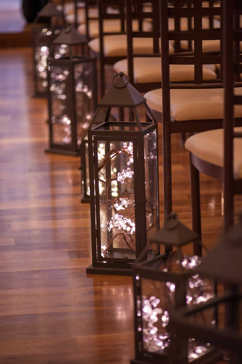 Services offered at The Ark include customize event design and settings such as these stylish glowing lanterns